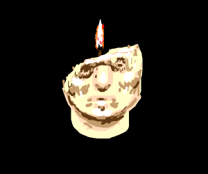 face candle (half of the face is gone)