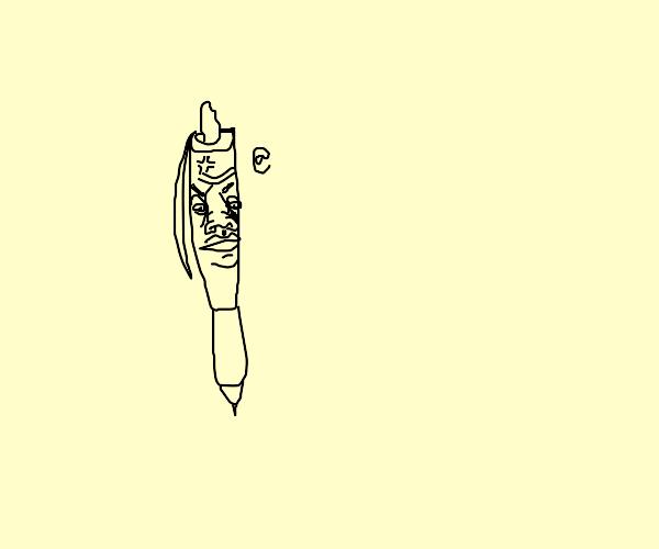 Disgruntled ball point pen.
