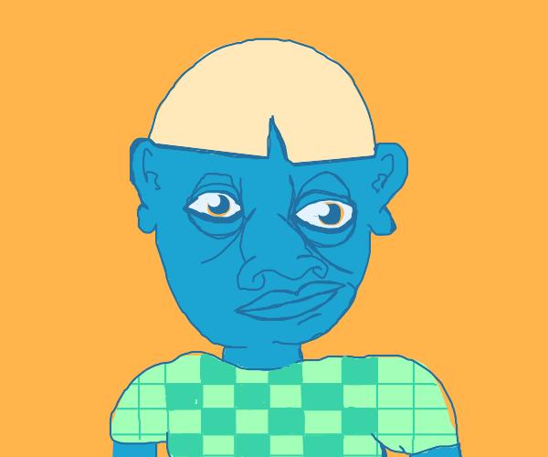 Blue faced boy grimacing