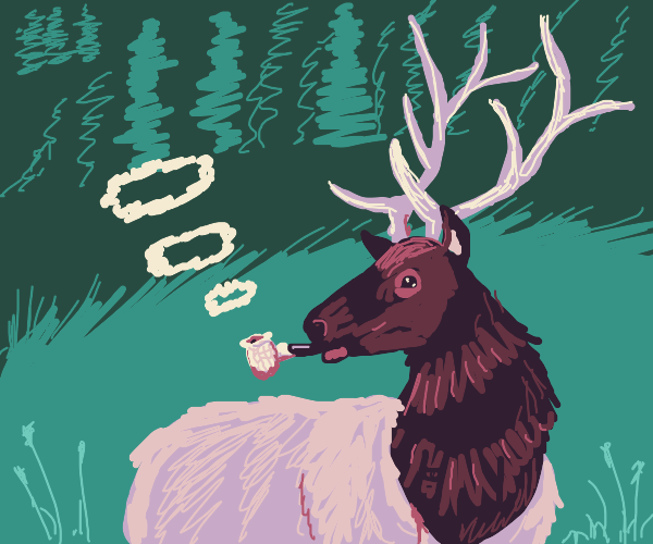 Mr. Elk smoking from his pipe pensively.