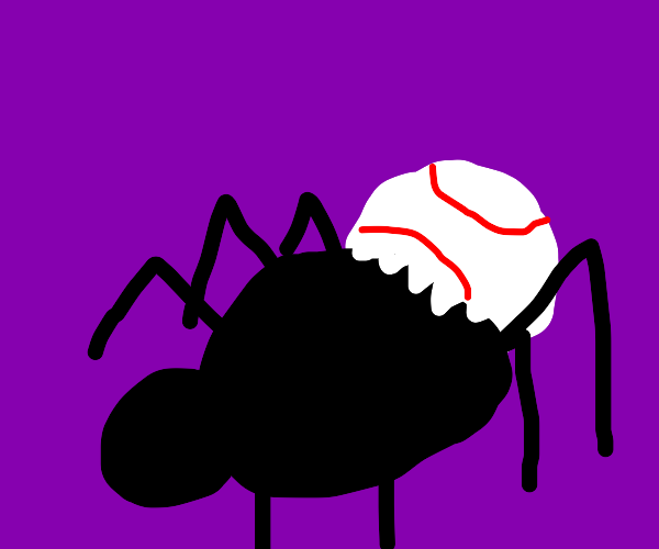 A spider has outgrown his baseball shell