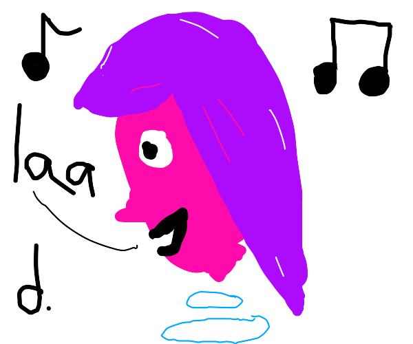 a floating pink head singing