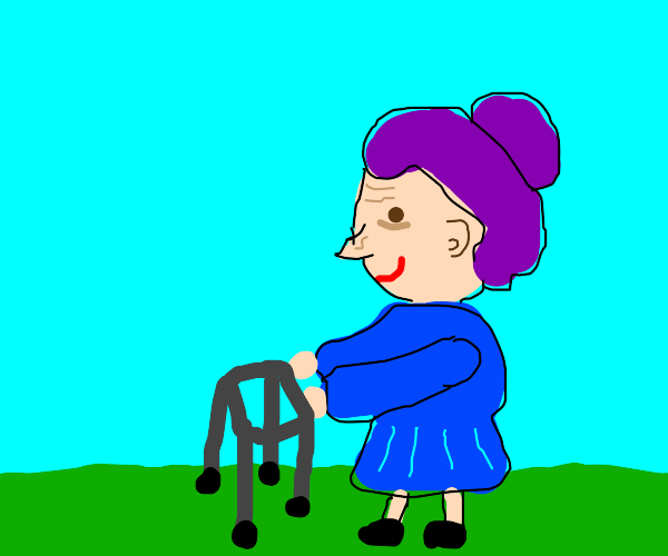 purple haired old lady using a walker