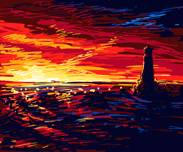 A lighthouse overlooking a Sunset