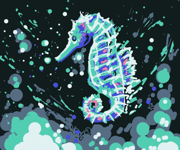 Seahorse blowing bubbles