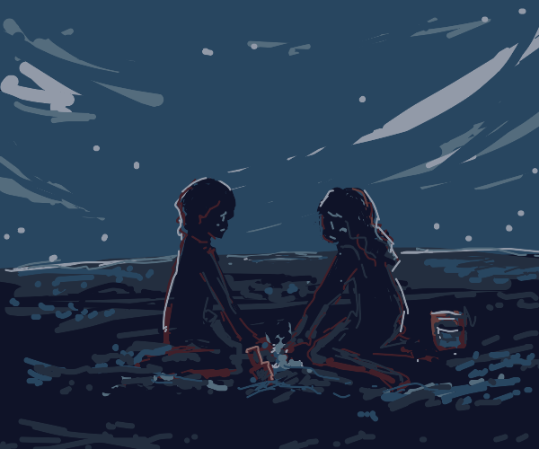 two sad kids play in the dirt
