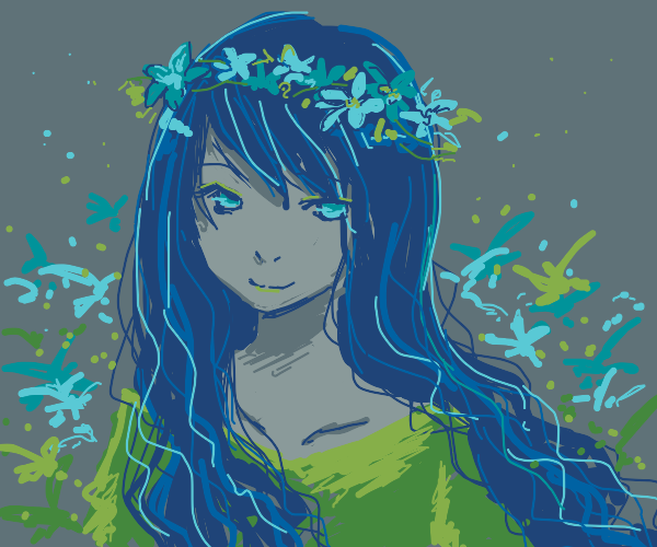 Flower princess with blue hair