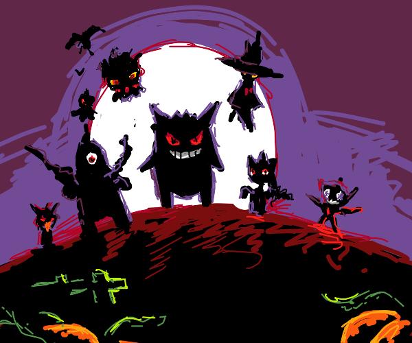 Ghost pokemon in the moonlight