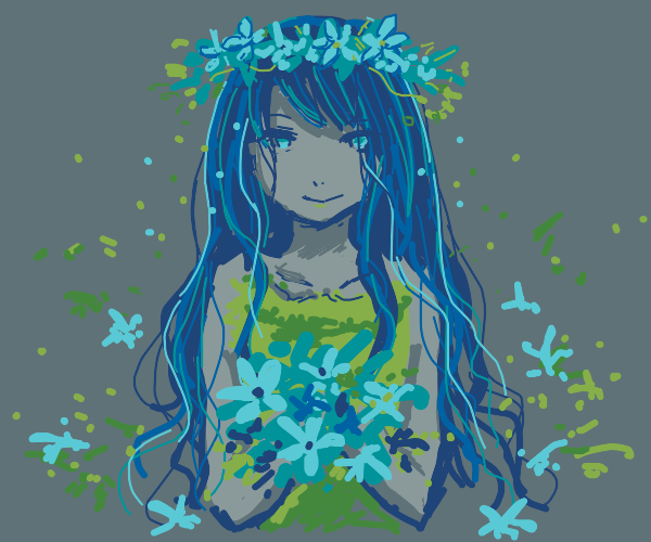 Girl with blue flowers