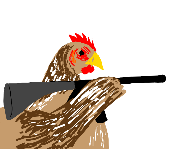 Chicken shooting a rifle
