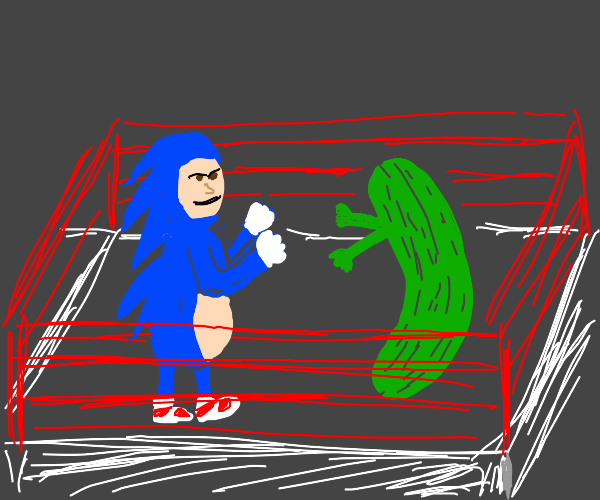fat man dressed as sonic fights living pickle