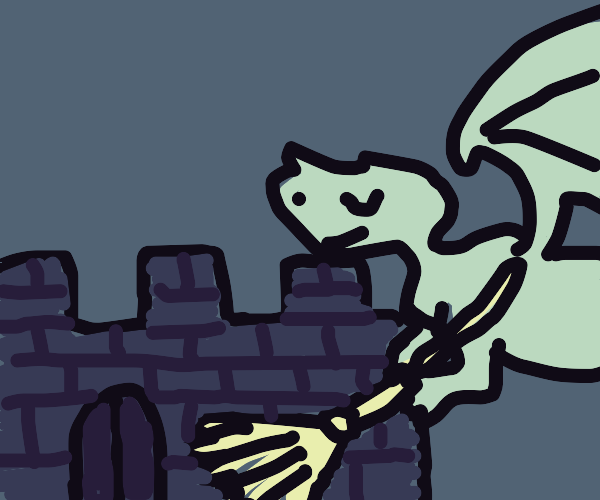 cute dragon sweeps dungeon