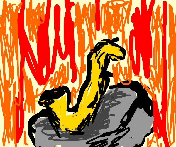 Saxophone in a lava pit