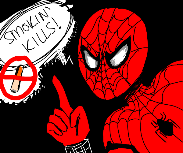 spiderman advises about the dangers of smokin