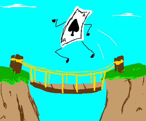 A Card jumping over a Bridge
