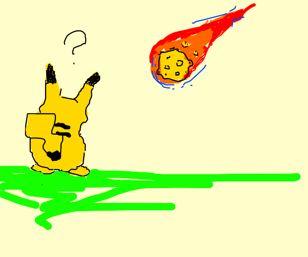 pikachu confused by an asteroid