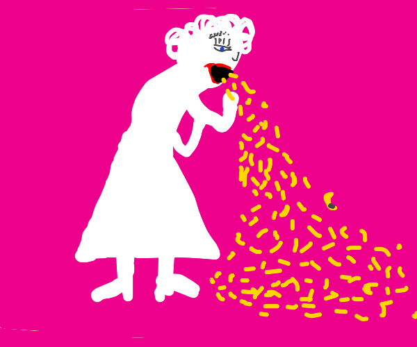 Albino lady puking mac n cheese