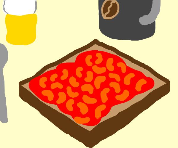 Beans on toast breakfast