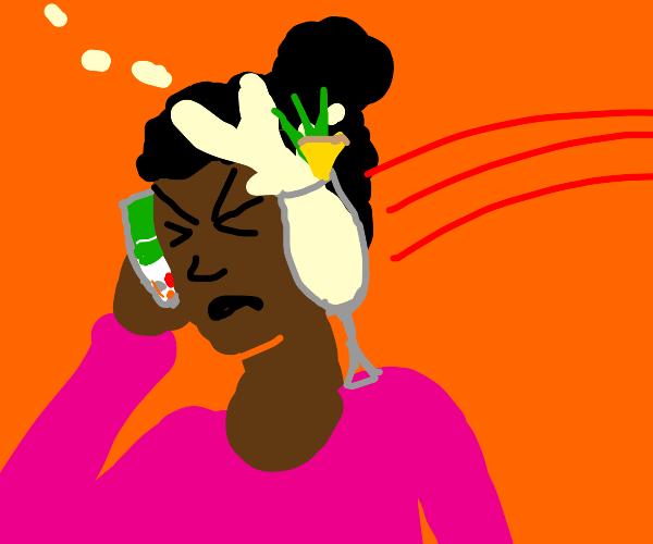 pina colada vs lady on phone