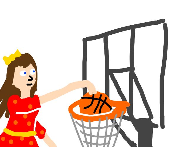 Girl plays basketball in a dress