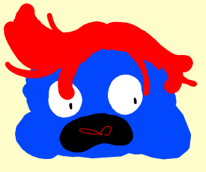 blue blob with red hair is surprised