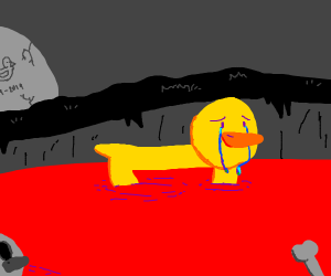 lonely duck in a pond full of pain