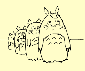 Many Totoros in a line