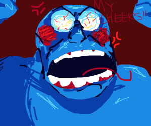 blue man is angry as his cheeks turn red