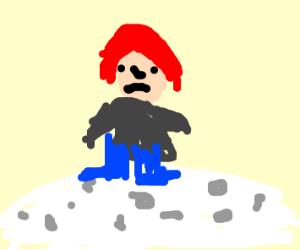 Redhead on the moon