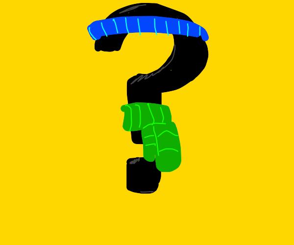 question mark with bluesweatbandandgreenscarf