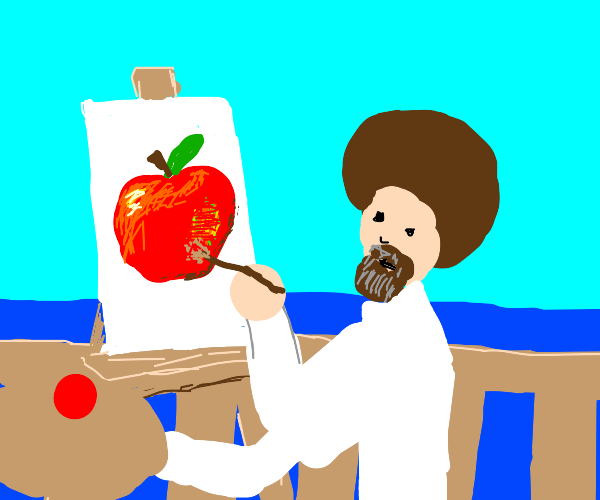 bob ross paints an apple at his seaside house
