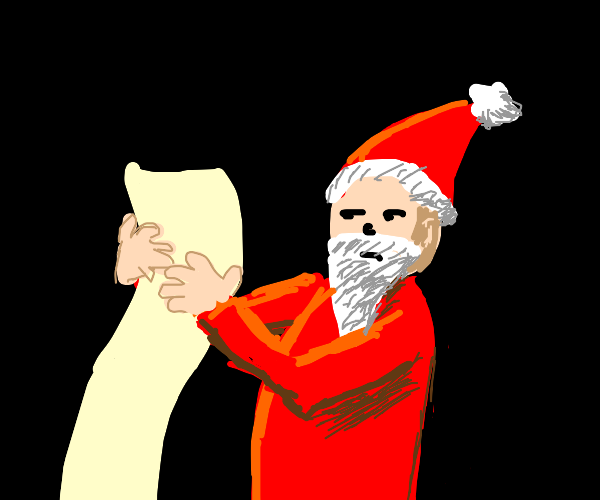 Santa reading x-mas list