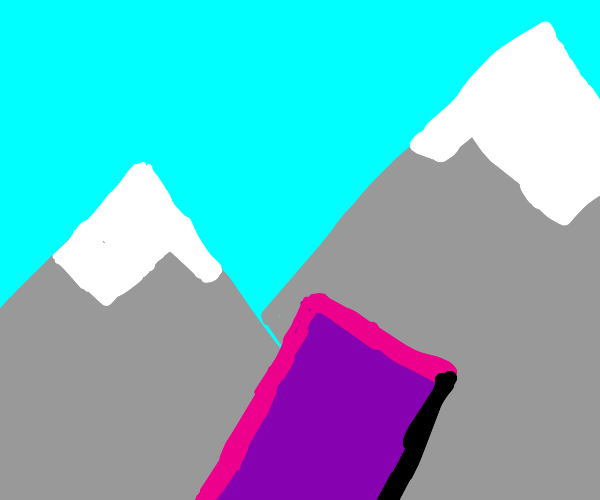 Purple rectangle in valley next to mountains