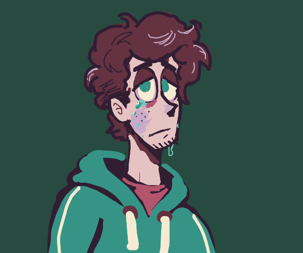 Sad boy with scruffy purple hair