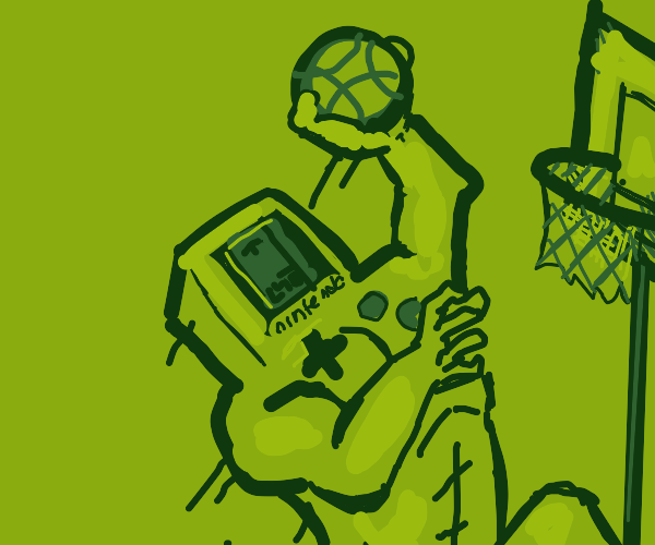 Buff Gameboy shooting hoops