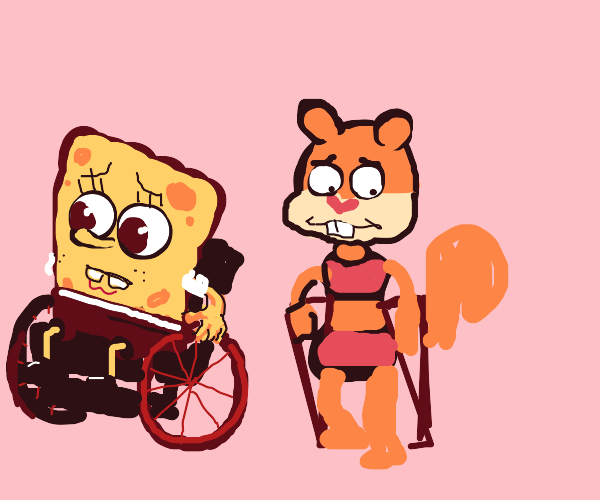Sponge bob and sandy are handicapped