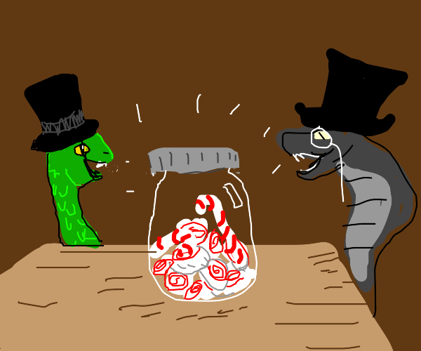 Gentlesnakes talking to a jar of peppermints