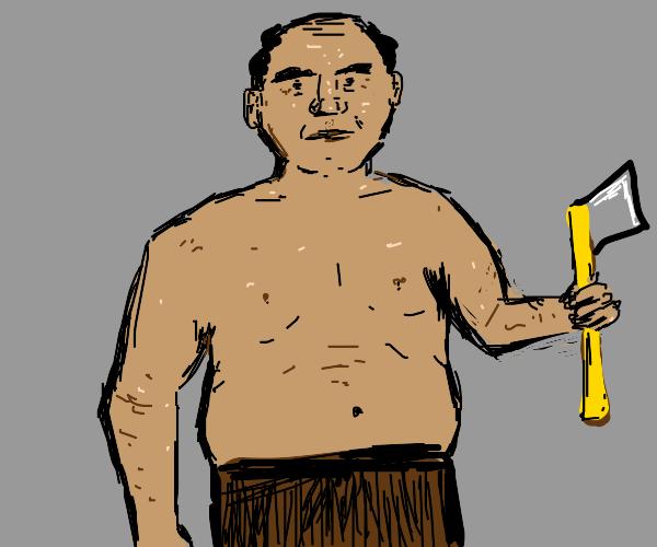 shirtless man holds an axe