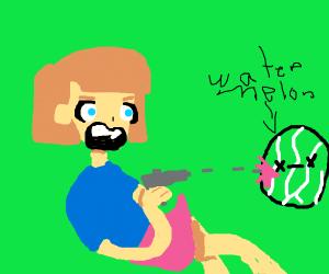 anime girl shooting watermelon
