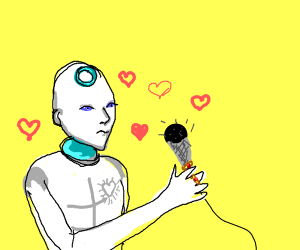 robot in love with microphone