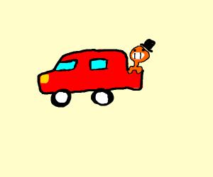 an orange man in a red truck