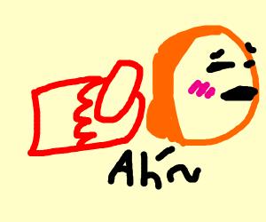 red fist punching orange butthole