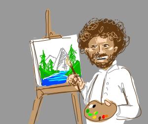 Bob Ross painting a landscape