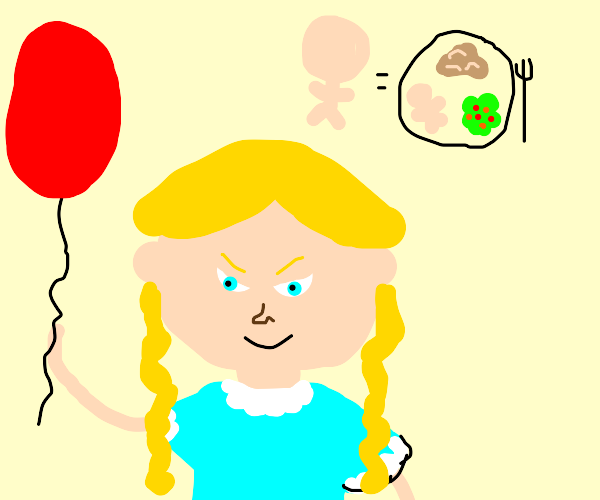 Little girl with balloon knows humans are yum