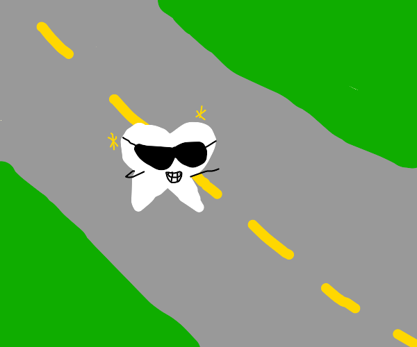 a really cool tooth crossing the road