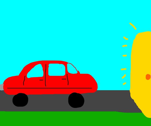 Car driving to a golden door