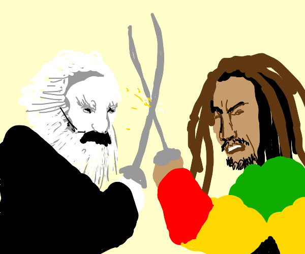 Sword fight between Karl Marx and Bob Marley