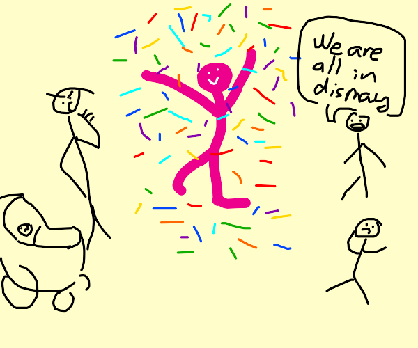 pink man throws confetti to everyones notlike