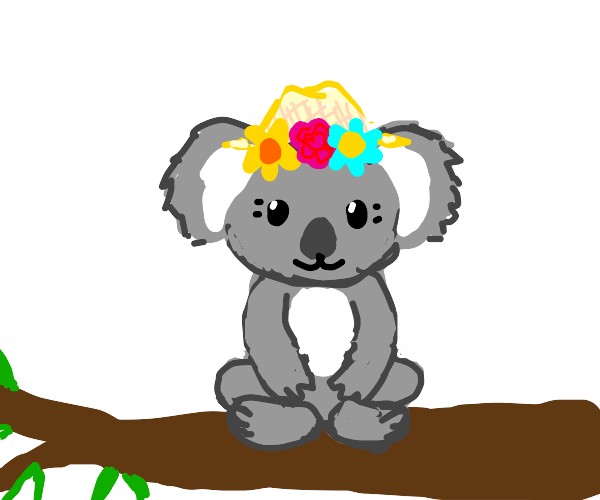 Cute Koala with flower hat