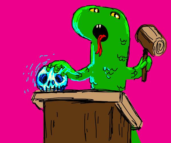 Lizard auctioning a Skull